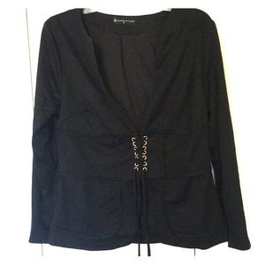 Fashion to Figure Lace Up Deep V Blazer